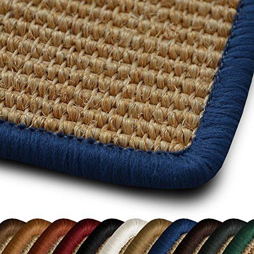 casa pura Sisal Läufer Teppich myStyle | Kettelung in Wunschfarbe | Naturfaser | viele Größen zur Auswahl (Kettelung Blau, 100x150 cm)