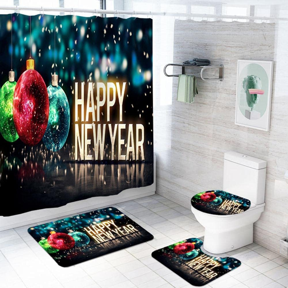 Vainbutry 4 Tulsa Mall Pieces Merry Christmas Ranking TOP19 Bathroom Set Print N Happy 3D