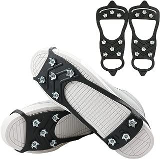 1 Pair of 8 Steel Studs Anti Slip Ice Snow Grips Crampons Women Men Ice Spikers Grippers Walk Traction Cleats Spikers Ice Traction Slip on Boots Shoes