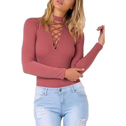 52d672f8a3 Mulisky Women Choker V Neck Lace up Long Sleeve Jumpsuit Ribbed Kintted  Bodysuit