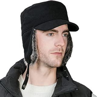 Jeff & Aimy Mens Womens Wool Baseball Cap Earflap Faux Fur Trapper Hat