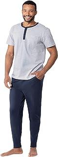 PajamaGram Mens Pajamas Soft Cotton - Ringer Tee Pajama Set for Men