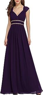 Ever-Pretty A-línea Vestido de Fiesta Gasa Cuello en V sin Mangas Largo para Mujer 08697