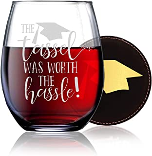 The Tassel Was Worth The Hassle - Class of 2019 Graduation Gifts - 21 oz Stemless Wine Glass w Coaster - Masater's or Undergraduate Degree Gifts For Women - Grad School