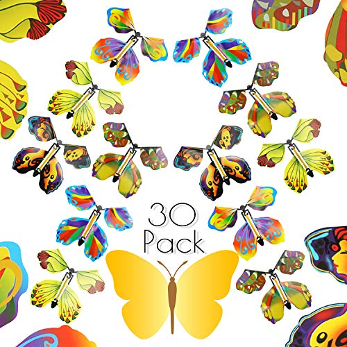 Fansport Fairy Flying Butterfly Gift Cards, Flying Butterfly Rubber Band Powered Wind up Butterfly Toy Great Surprise Gift for Party Playing Toys