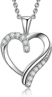 925 Sterling Silver Forever Lover Heart Pendant Necklace