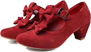 getmorebeauty Women's Low Heel Vintage Lolita Shoes Bowknot Mary Jane Comfort Straps Shoes