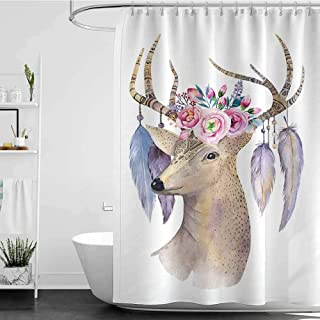 shower curtains on sale Hand painted watercolor illustration isolated on white background. Watercolour deer head, flowers, arrows and feathers.Decoration mammal. Save the date card.bohemian, hipster a