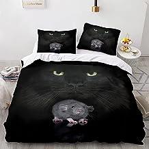 Parure de lit 3D pour enfant avec housse de couette pour chat 3D et taies d'oreiller Motif chat - 220 x 240 cm (3 pièces)