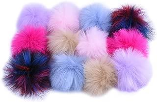 12pcs Faux Fox Fur Fluffy Pompom Balls DIY Fur Pom Poms with Press Button, Hat Shoes Scarves Bag Keychains Charms Accessories, Colorful