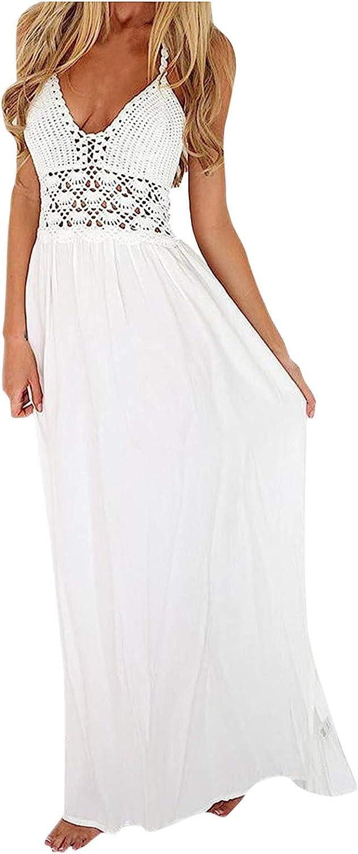 Fankle Women's Beach Crochet Backless Bohemian Halter White Maxi Dress