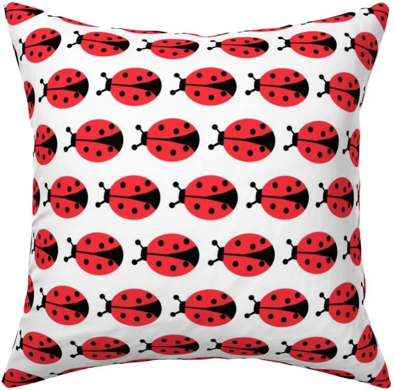 Amazon Com Roostery Throw Pillow Ladybugs In Red Bug Insect Ladybird Print Linen Cotton Canvas Knife Edge Accent Pillow 18in X 18in With Insert Home Kitchen