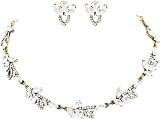 Rosemarie Collections Women's Marque Rhinestone Elegant Bridal Design Statement Necklace Earrings Jewelry Set