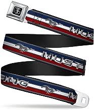 Buckle-Down Seatbelt Belt - Mustang/Text w/Tri-Bar Stripe - 1.5