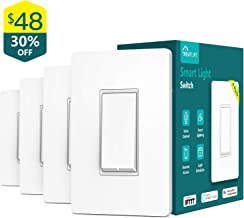 Treatlife Smart Light Switch, Neutral Wire Needed, 2.4Ghz Wi-Fi Light Switch,Works with Alexa, Google Assistant and IFTTT, Schedule, Remote Control, Single Pole, ETL Listed (4 PACK)