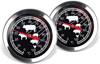 Schramm® 2 stuks vleesthermometer temperatuurmeter zilverkleurige braadsthermometer RVS grill-thermometer oventhermometer
