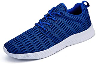 PengCheng Pang Men's Fashion Athletic Shoes Round Toe Solid Color Sports Sneaker (Color : Blue, Size : 8.5 UK)