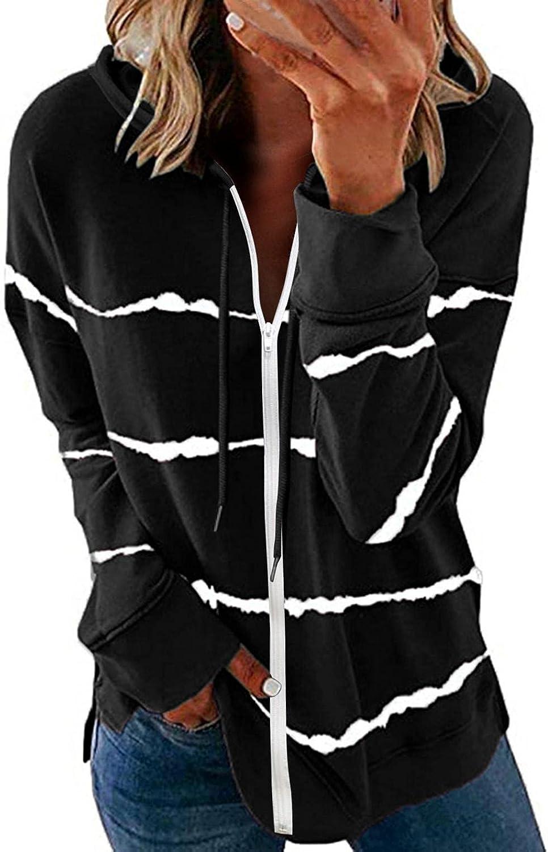 Jaqqra Hoodies for Women, Womens Casual Gradient Zip Up Sweatshirt Jacket Loose Long Sleeve Pullover Tops Blouse Coat
