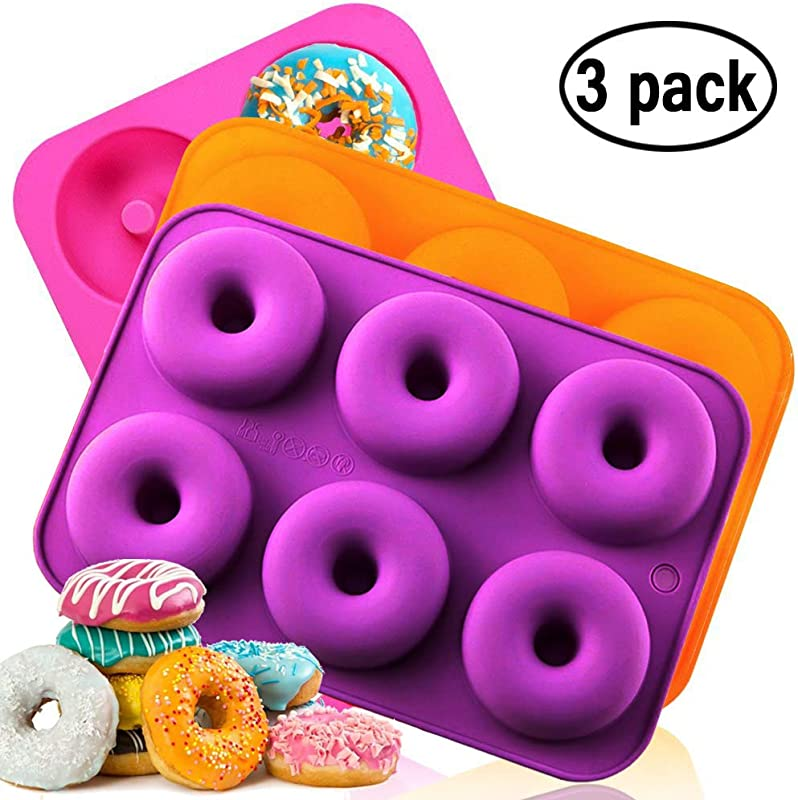 Silicone Donut Baking Pan Non Stick Donut Mold Dishwasher Oven Microwave Freezer Safe BPA Free Bake Full Size Perfect Shaped Doughnuts By Amison 3 Pack