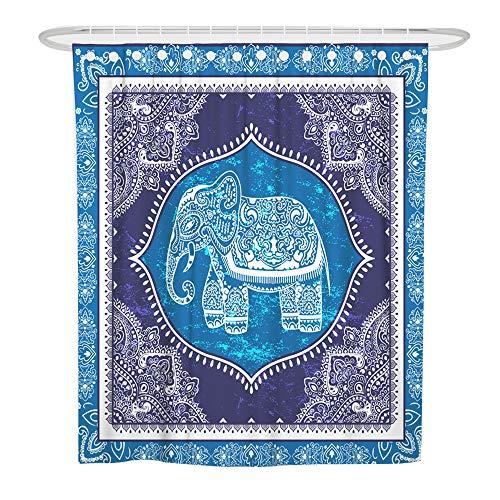 ChickwinDuschvorhangWasserdichtAnti-Schimmel3DElefant TierDruckenBöhmen PolyesterBadVorhangmit12DuschvorhangringefürBadezimmerDecor (90x180cm,Blaues Mandala)