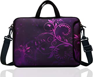 "17-Inch to 17.3-Inch Neoprene Laptop Shoulder Messenger Bag Case Sleeve for 16 16.5 17 17.3"" Inch Acer/Asus/Dell/Lenovo/HP/MacBook (Purple Flower)"
