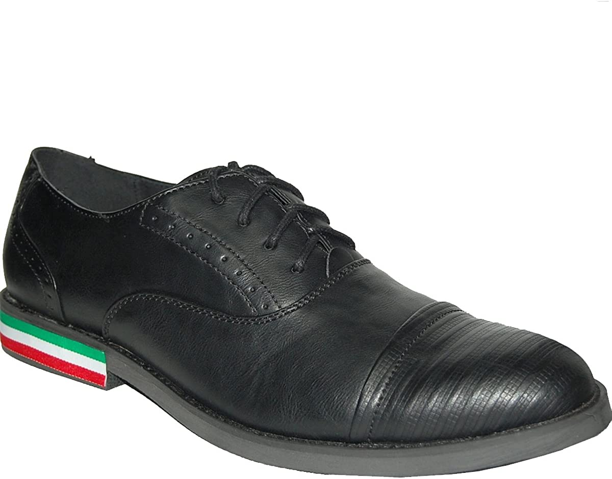 KRAZY SHOE ARTISTS Black Uppers with Red-White-Blue Colors Stripe Ornament Mens Oxfords