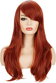 Deifor 23 inch Long Redhead Wavy Heat Resistant Synthetic Hair with Bangs for Cosplay Wigs (Auburn)