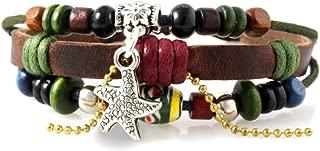 Starfish Charm Beaded Multi Strand Leather Silvertone Zen Adjustable Bracelet in Gift Box