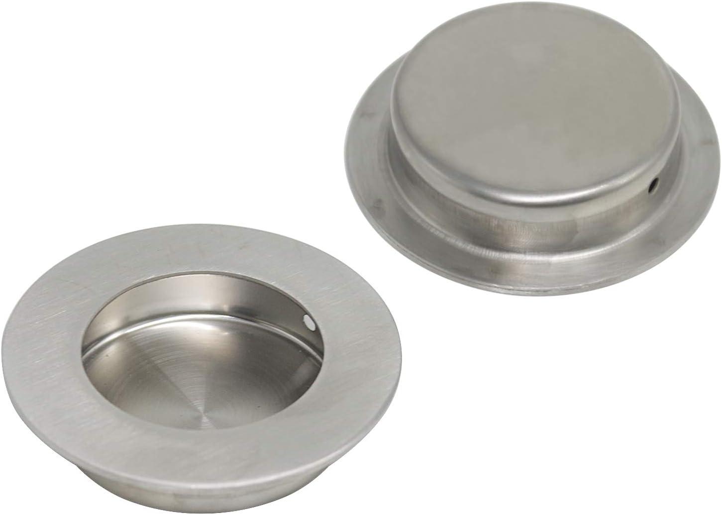 confezione da 5 Maniglie per porte in acciaio inox satinato rotonde in acciaio inox 304 65 mm per cassetti e armadi