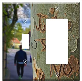 1-Toggle 1-Rocker/GFCI Combination Wall Plate Cover - Tree Trunk Tree Just Say No Etched Engraved