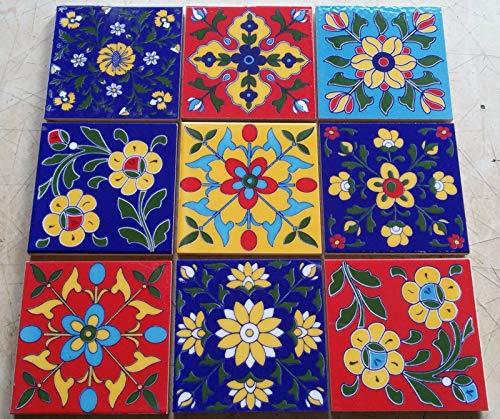Lote de 9 mosaicos cuadrados de cerámica multicolor hechos a mano con diseño de Mónaco de 10,16 x 10,16 cm, estilo marroquí multicolor
