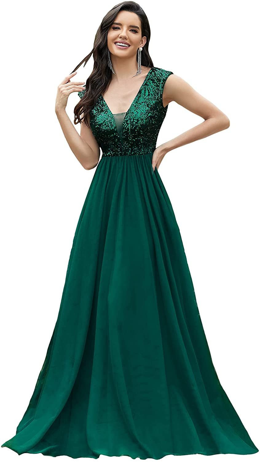 Ever-Pretty Women's A-Line Sequins Patchwork Long Evening Gowns 0983