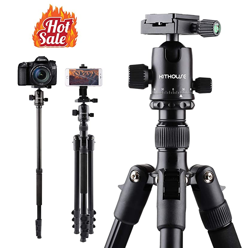 Kithouse 66 Inch Camera Tripod For Camera Canon Nikon Sony - DSLR Travel Tripod SLR Monopod with Carry Bag, Lightweight(Elegant Black) hxrxzjd444402