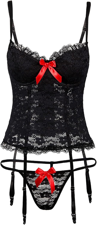 Womens Fashion Lace Sling Vest Hollow Mesh See-Through Bodysuit Suit Set