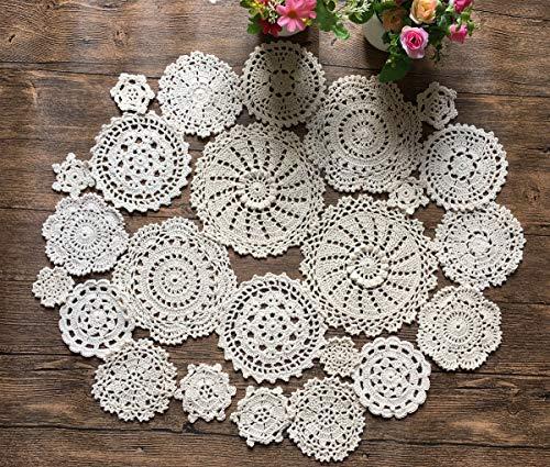 MINDPLUS Set of 24 Hand Crochet Doilies Cotton Crocheted Lace Doilies 2-7 Inches Round Beige Vintage (24pcs Beige)
