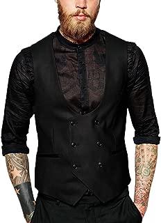Men's Vintage Double Breasted Vest Designer U-Neck HerringboneTweed Waistcoat