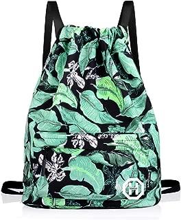 Sport Swimming Yoga Drawstring Backpack - Horsky Leaf Shoulder School Bag Lightweight for Travel Camping 35 L