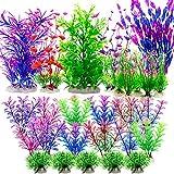 Plantas de acuario, paquete de 27 decoraciones para peceras, plantas de plástico artificial, adornos de acuario, accesorios multicolor para peces tropicales