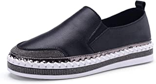 Women's Shoes Deck Shoes Leather Loafers & Slip-Ons Low-Top Casual Shoes Outdoor Walking Shoes/Driving Shoes White Black,Black,36