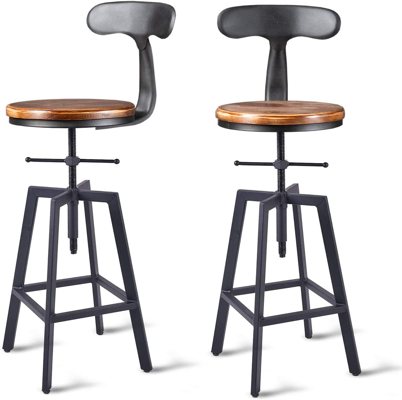 Buy Diwhy Industrial Bar Stools,Kitchen Dining Chair,Wood Top ...