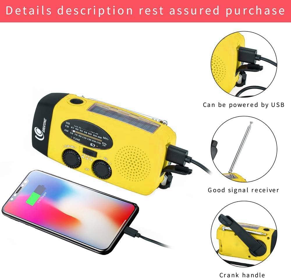Yellow GREATONE Weather Radio,Emergency Hand Crank Self Powered ...