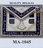 Past Master Apron Navy Blue Silver Eembroidery with Fringe