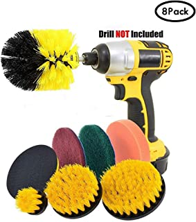 JOQINEER Drill Brush Scrub Pads 8Piece Power Scrubber Cleaning Kit - All Purpose Cleaner Scrubbing Cordless Drill for Cleaning Pool Tile, Sinks, Bathtub, Brick, Ceramic, Marble, Auto, Boat (8Pcs)