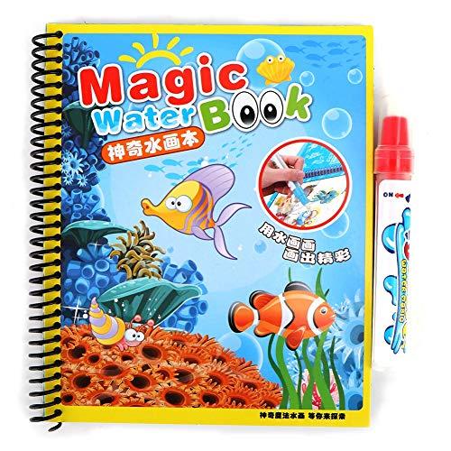 Tnfeeon Libro da colorare con Acqua, Pittura con Libri di attività sull'acqua Disegno Pittura Giocattolo Kit da Viaggio con Penna ad Acqua per Bambini Bambini Bambini(#2)