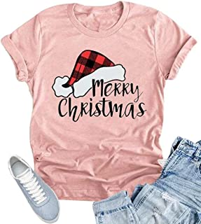 KIDDAD Merry Bright Christmas T Shirt Women Xmas Tree Graphic Shirts Raglan Long Sleeve Plaid Splicing Top Tees…