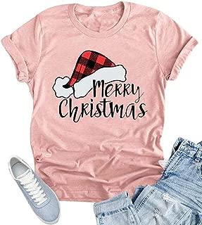 KIDDAD Merry Christmas T-Shirt for Women Plaid Santa Santa Claus Hat Graphic Short Sleeve Tee Tops