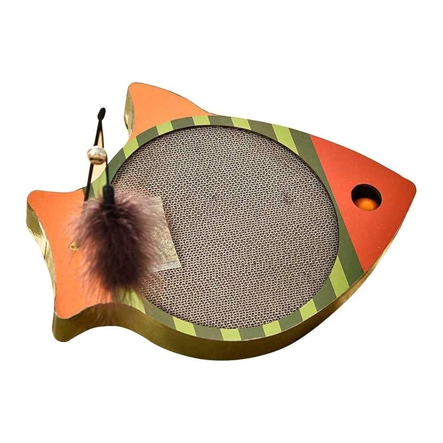 バインド穿孔する創造魚の形キャットスクラッチボードパッドからかうペット段ボール安全なカードボードスクラッ玩具 羽 猫の羽のおもちゃ ランキング ボール (Color : A1, Size : M)