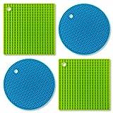 LeTOMA - Topfuntersetzer / Topflappen aus Silikon - 4er Set extrem robust & hitzebeständig - Blau/Grün