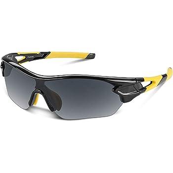 Bea Cool Gafas de sol polarizadas deportivas para hombres, mujeres, jóvenes, béisbol, ciclismo, correr, conducir, pescar, golf, motocicleta, tac, gafas (Negro amarillo): Amazon.es: Deportes y aire libre