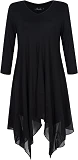 AMZ PLUS Womens Plus Size Irregular Hem Short Sleeve Loose Shirt Dress Top